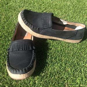 Ugg marrah leather fringe loafer Mocs black